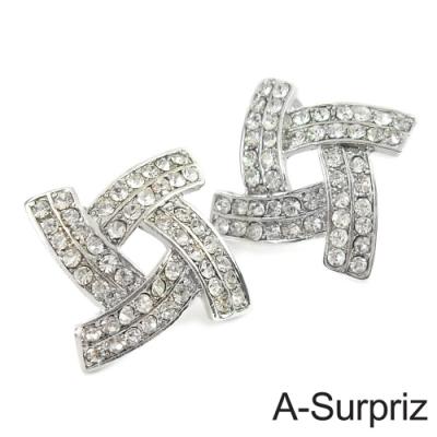 A-Surpriz 幾何花卉晶鑽耳環