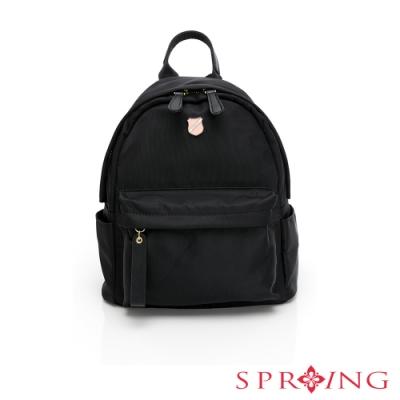 SPRING-經典質感系列尼龍後背包-經典黑