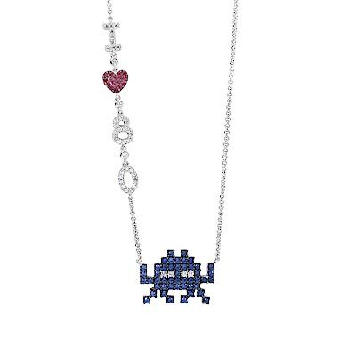 apm MONACO法國精品珠寶 閃耀銀色鑲鋯愛心太空戰士純銀項鍊