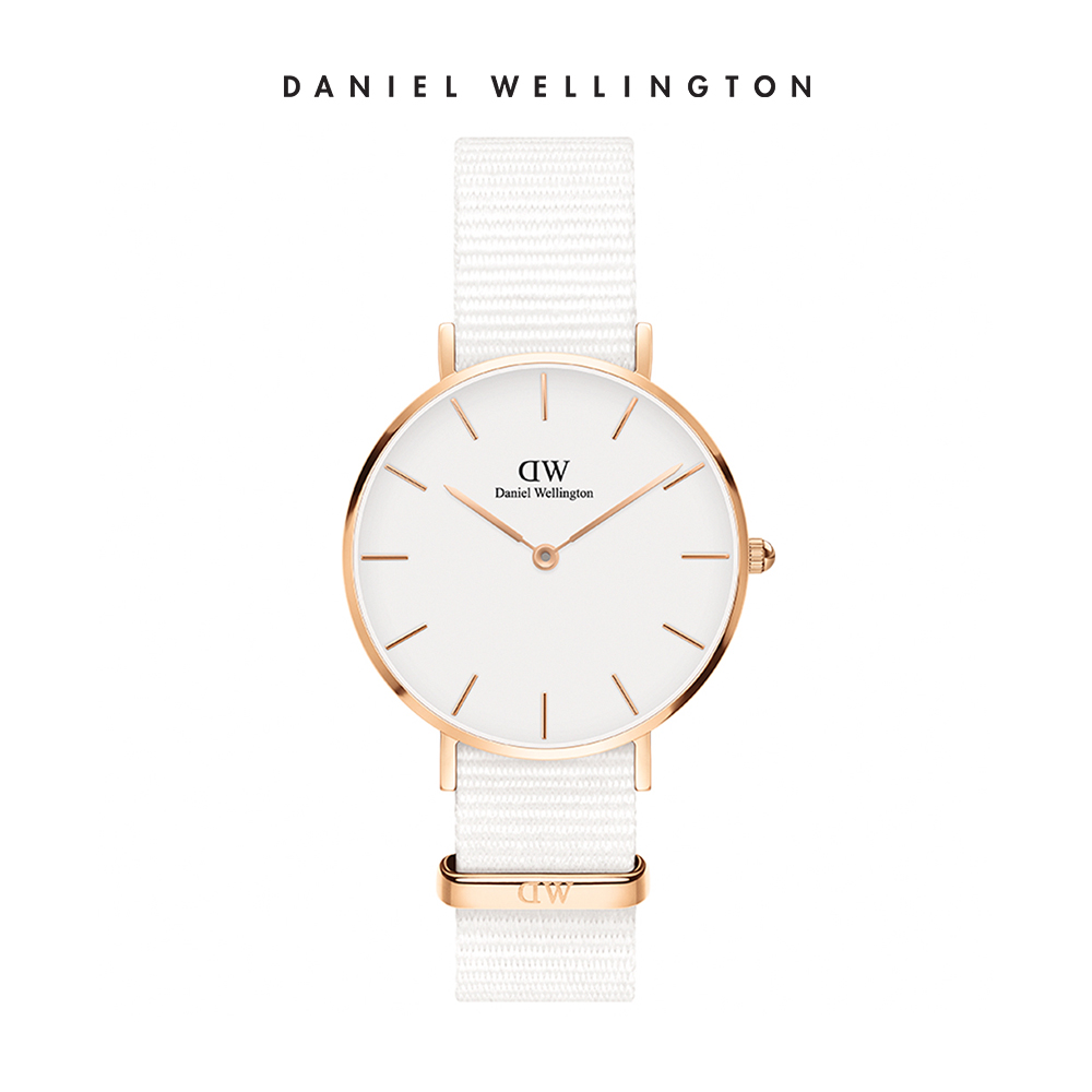 【Daniel Wellington】官方直營 手錶 官方旗艦店 32mm玫瑰金框 Petite 純淨白織紋手錶
