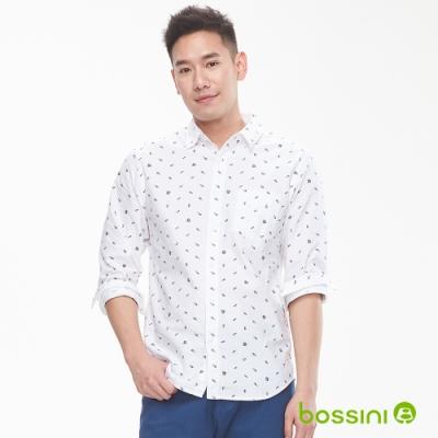 bossini男裝-圖案長袖襯衫01白