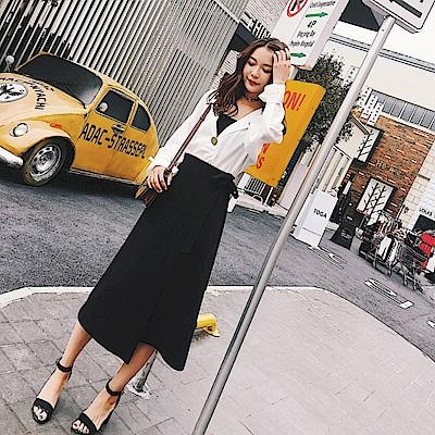 La Belleza素面鬆緊腰側綁帶不對稱拼接一片闊腿褲裙 @ Y!購物