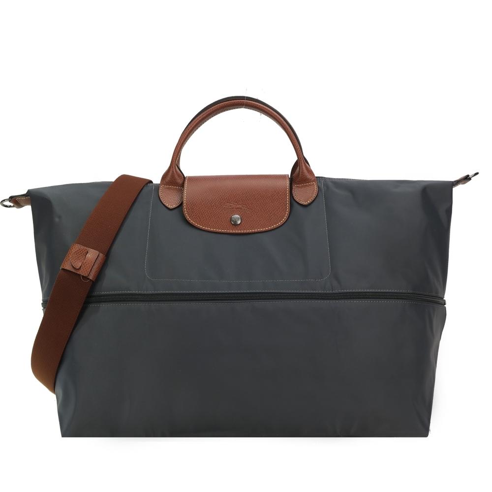 LONGCHAMP LE PLIAGE 延展夾層手提/斜背旅行袋(鐵灰)