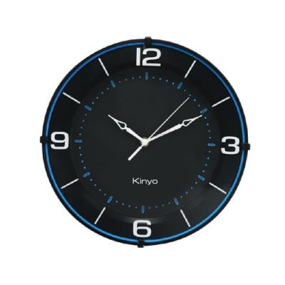 【KINYO】13吋時尚質感掛鐘/時鐘(CL-197)藍悠黑靜