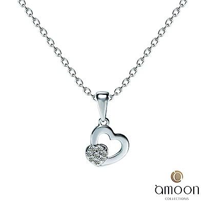 amoon 浪漫艾菲爾系列 心連心 9K金鑽石墜子 送18K金純銀項鍊