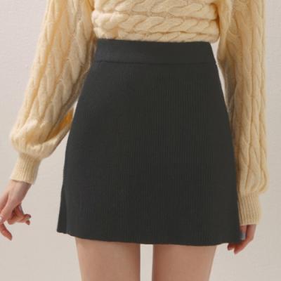 AIR SPACE 雙口袋造型羅紋短裙(黑)