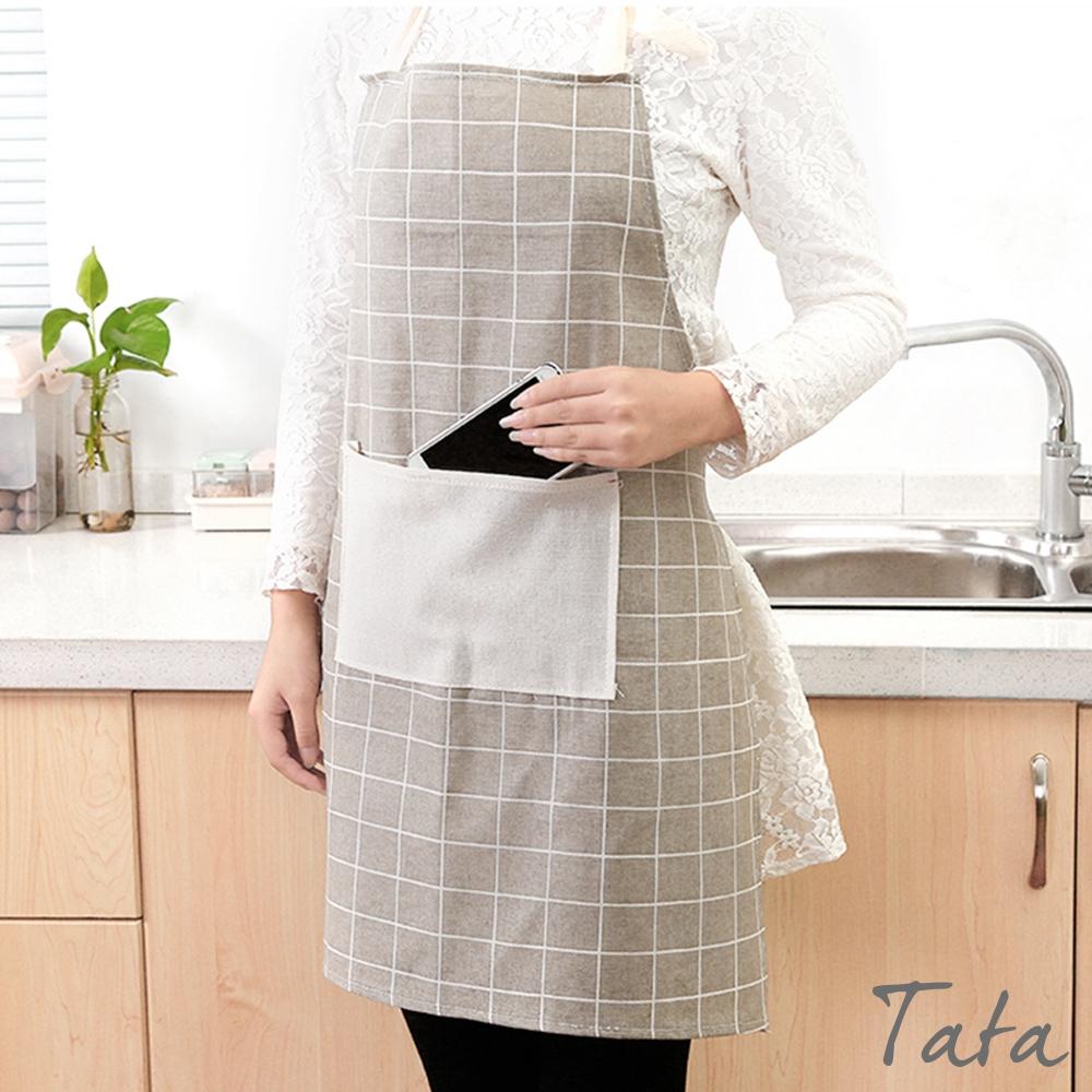 簡約格紋口袋圍裙 共二色 TATA