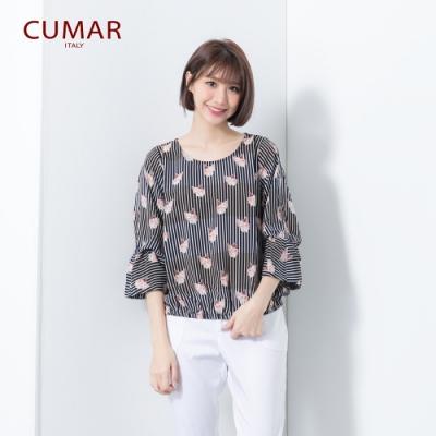 【CUMAR】條紋俏皮貓咪-襯衫(二色)