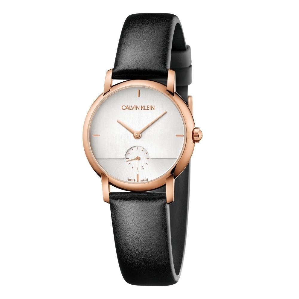 Calvin Klein CK極簡設計小秒針皮帶腕錶(K9H2Y6C6)32mm