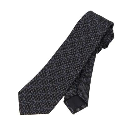 GUCCI 滿版GG 蠶絲男仕領帶(黑色)
