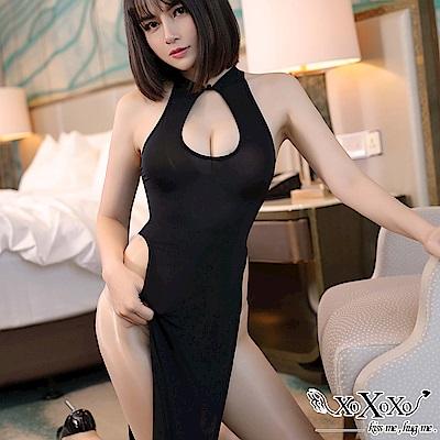 情趣睡衣 絕代美人高衩旗袍連身裙 挑逗黑 XOXOXO
