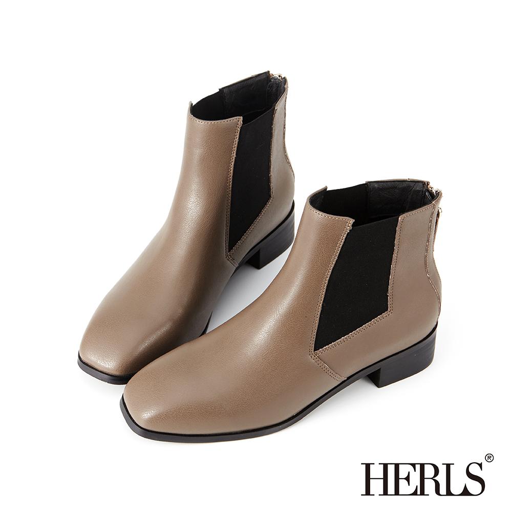 HERLS 側鬆緊切爾西素面方頭短靴-卡其色