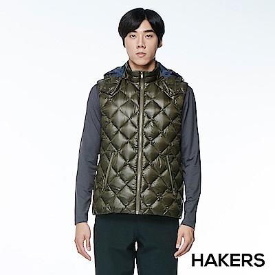 【HAKERS 哈克士】男款 羽絨背心(森橄綠)