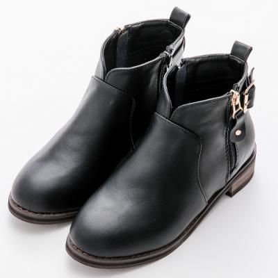 River&Moon中大尺碼-顯瘦前V口雙拉鍊扣環短靴 黑