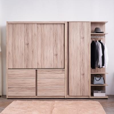 時尚屋  希橡木8.6尺雙吊衣櫃 寬257.8x深60x高197.5cm