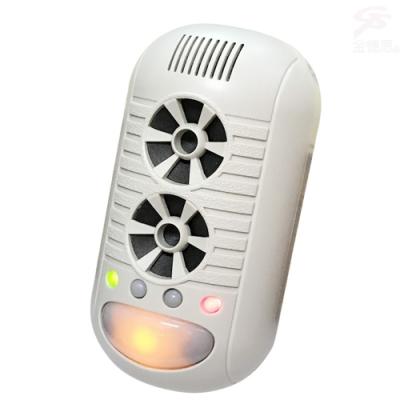 金德恩 台灣製造 物理驅逐插電款自動掃頻超音波四合一強效型驅鼠蚊蟲驅蟑螂器/負離子空氣清淨器