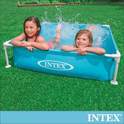 INTEX 方型四柱游泳池/戲沙池122x122cm(337L) 2歲+(57173)