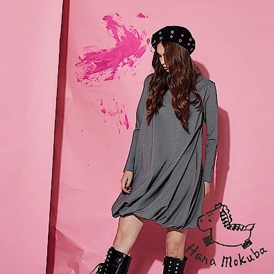 Hana+花木馬 法式簡約下擺空氣感打摺繭型設計長袖造型洋裝-灰