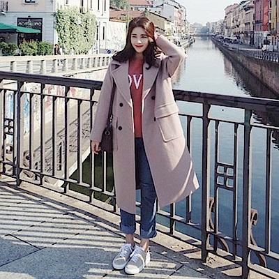 AH dream夢想女孩 韓國製甜美仿羊毛繫帶雙排扣毛呢大衣A417