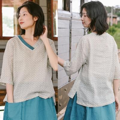T恤-純苧麻交叉V領印花短袖寬鬆棉麻上衣-設計所在