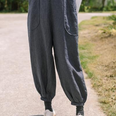 吊帶褲-亞麻直筒條紋棉麻寬管寬鬆休閒-設計所在