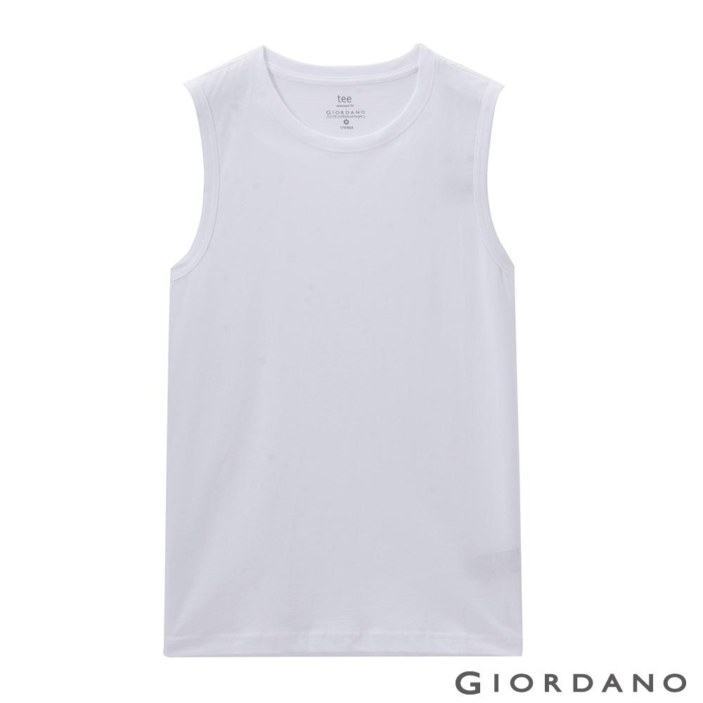 GIORDANO 男裝純棉素色無袖背心-01 標誌白