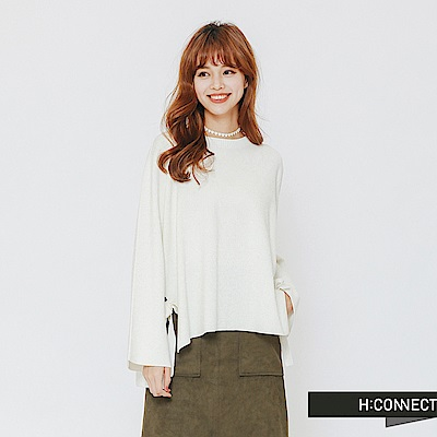 H:CONNECT 韓國品牌 女裝-設計感綁結針織上衣-白