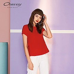 OUWEY歐薇 花邊蕾絲拼接上衣(紅)