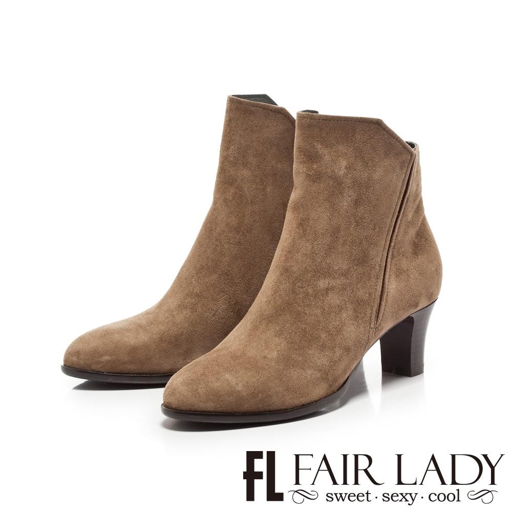Fair Lady簡約素面拼革拉鍊粗跟短靴 卡其