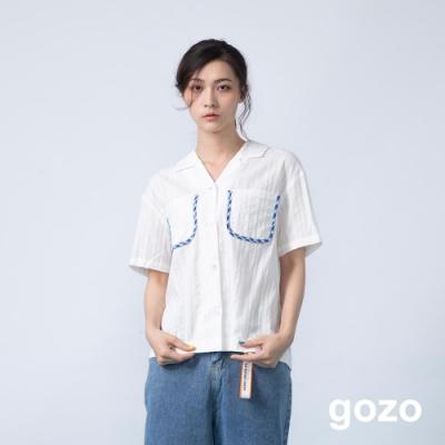 gozo 格紋配色邊條口袋壓紋短襯衫(二色)