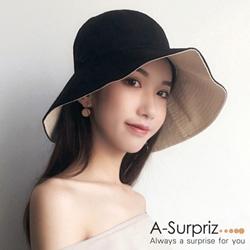 A-Surpriz 典雅純色雙面遮陽布帽(黑)