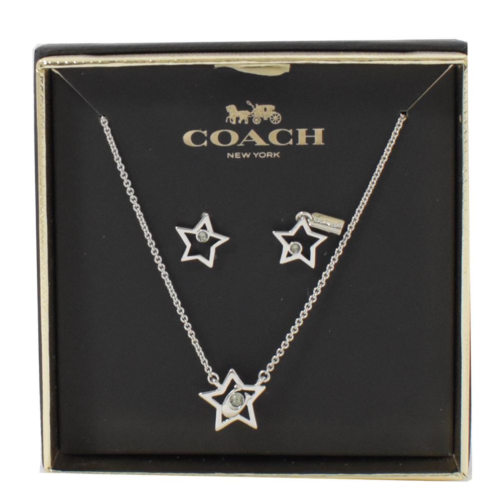 COACH 星星C字LOGO造型水鑽項鍊耳環組(銀色)COACH