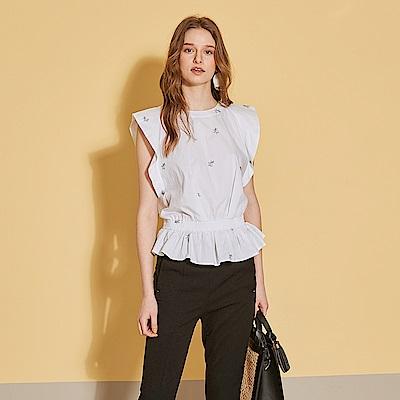 ICHE 衣哲 立體荷葉拼接刺繡印花露背設計造型上衣-沁白