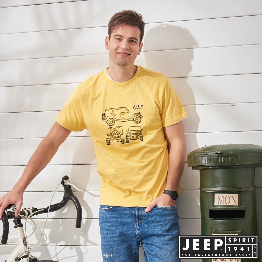 JEEP 陽光型男立體圖騰短袖TEE-黃色