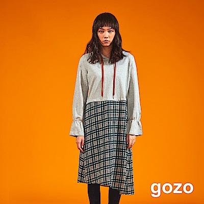gozo 格紋拼接帽T連身洋裝(二色)