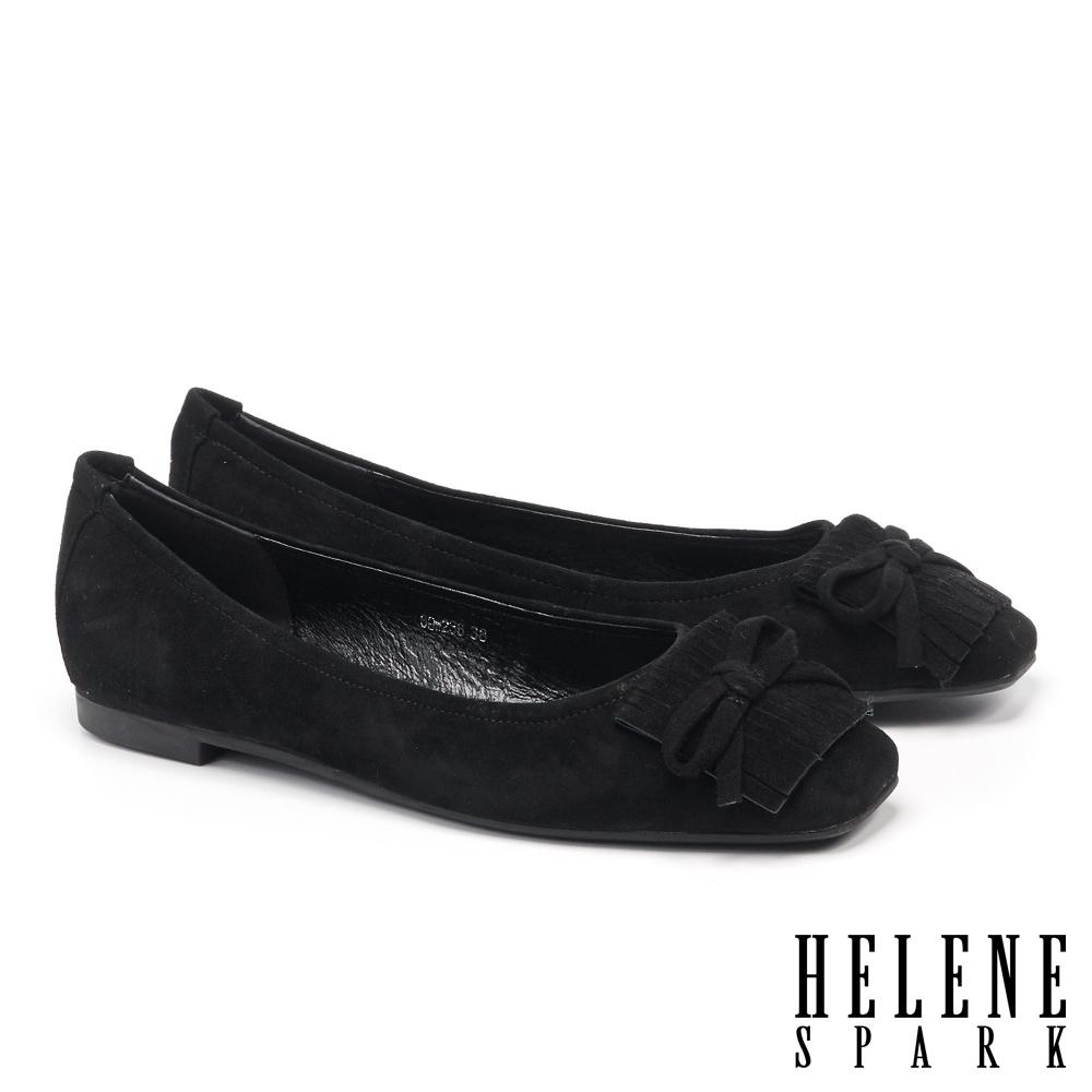 平底鞋 HELENE SPARK 氣質時尚流蘇蝴蝶結全真皮方頭平底鞋-黑