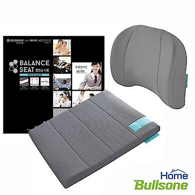 【Bullsone 超值組】倍力舒蜂巢凝膠腰椎靠墊+M號蜂巢凝膠坐墊-灰色