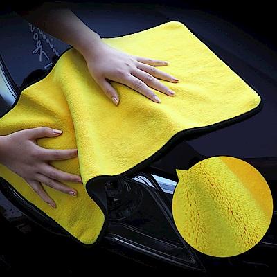 EZlife雙色超柔超吸水洗車巾4入組(2大2小)贈貓咪雨刷貼紙