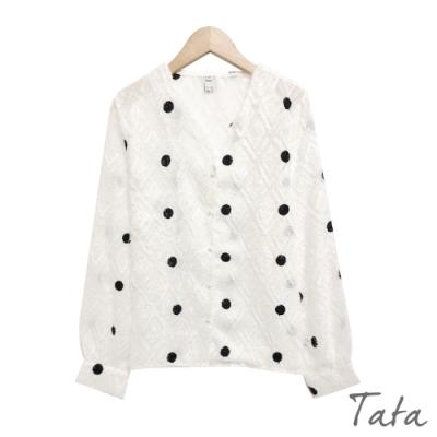 刺繡黑圓點上衣 TATA-(S~XL)