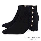 Tino Bellini浪漫抓摺鑲珍珠全真皮高跟短靴_黑