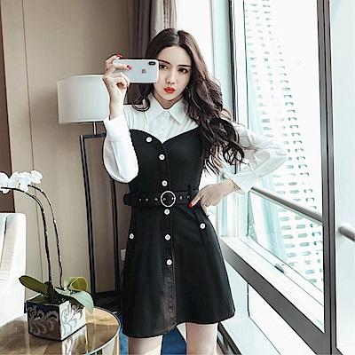 DABI 韓國風黑白拼接襯衫腰帶包臀長袖洋裝