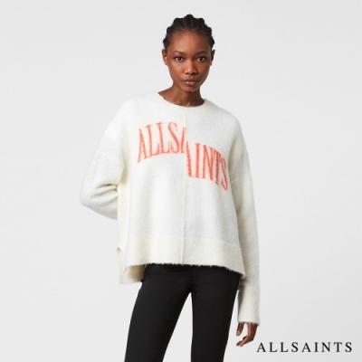 ALLSAINTS SPLIT 率性獨特錯位LOGO標誌羊毛混紡針織上衣-白