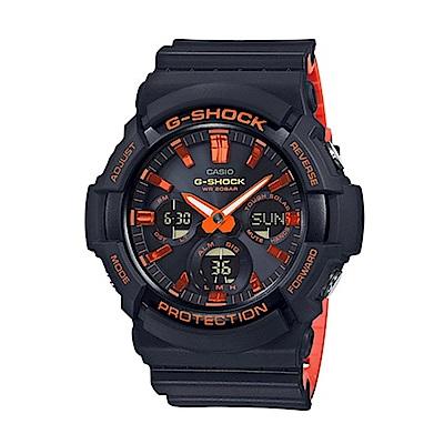 CASIO 卡西歐 G-Shock 酷炫時尚雙顯電子錶-黑x橘/52.5mm