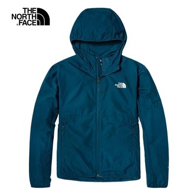 The North Face北面男款藍色防曬防潑水連帽防風外套 49B2BH7