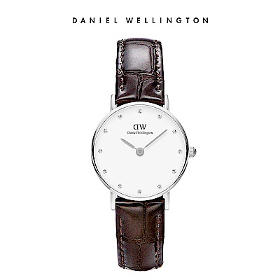 DW 手錶 官方旗艦店 26mm銀框 Classy 深棕真皮壓紋鑽石錶