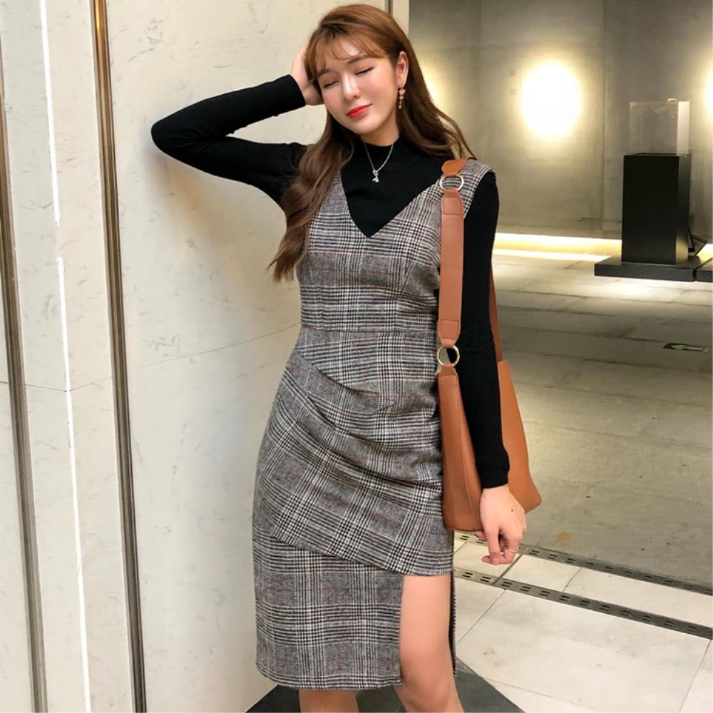 DABI 韓系格紋V領修身顯瘦不規則毛呢無袖洋裝