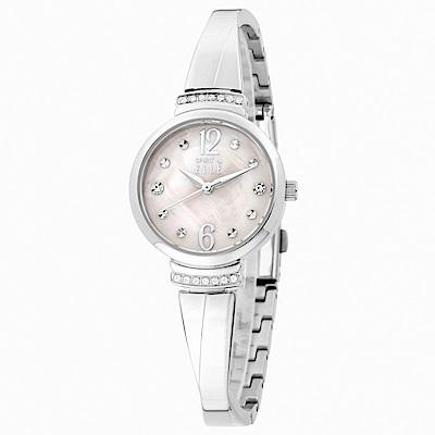 ELLE 晶鑽點綴氣質交叉腕帶銀色鍊錶-銀/26mm