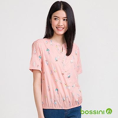 bossini女裝-無領開襟五分袖印花襯衫02粉色