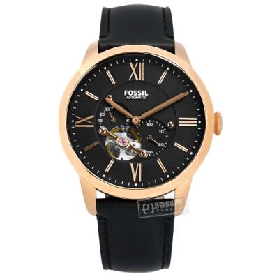 FOSSIL 機械錶 自動上鍊 羅馬刻度 日本機芯 真皮手錶-黑x玫瑰金框/44mm
