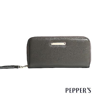 PEPPER`S Reese 牛皮流蘇拉鍊長夾 - 迷霧灰